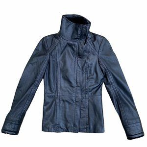 Ted Baker London Leather Wool Lined Moto Jacket 0